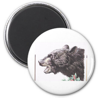 Growling Black Bear with Berries 2 Inch Round Magnet