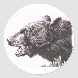 Growling Black Bear with Berries Round Stickers