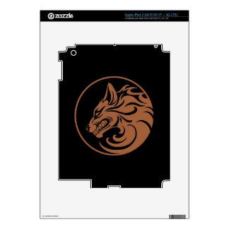 Growling Brown and Black Wolf Circle iPad 3 Decal