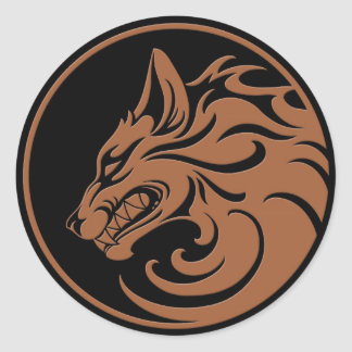 Growling Brown and Black Wolf Circle Round Stickers