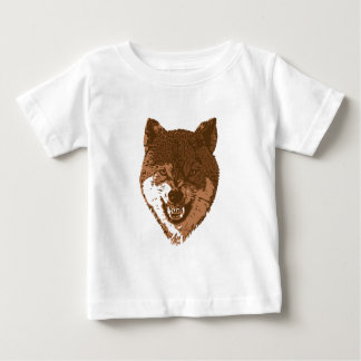 Growling brown wolf baby T-Shirt