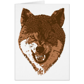 Growling brown wolf card