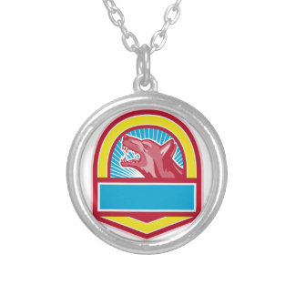Growling German Shepherd Crest Retro Silver Plated Necklace