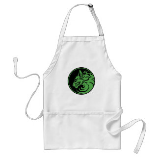 Growling Green and Black Wolf Circle Apron