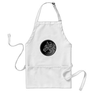 Growling Grey and Black Wolf Circle Apron
