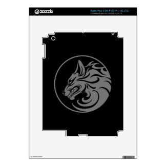 Growling Grey and Black Wolf Circle Skins For iPad 3