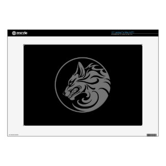 Growling Grey and Black Wolf Circle Skins For Laptops