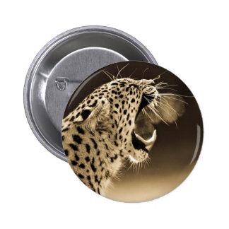 Growling Leopard Button