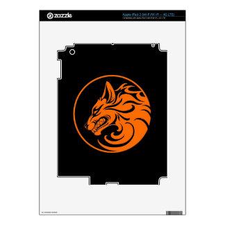 Growling Orange and Black Wolf Circle Skins For iPad 3