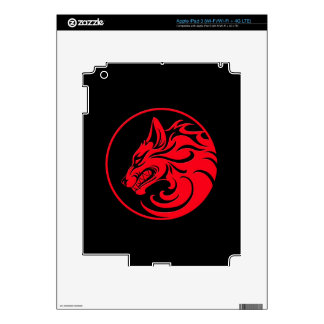 Growling Red and Black Wolf Circle iPad 3 Skin