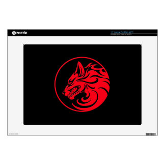 Growling Red and Black Wolf Circle Laptop Skin