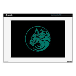 "Growling Teal Blue and Black Wolf Circle Skins For 15"" Laptops"