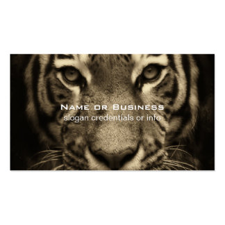 Growling Tiger Face in Sepia Tones Business Card