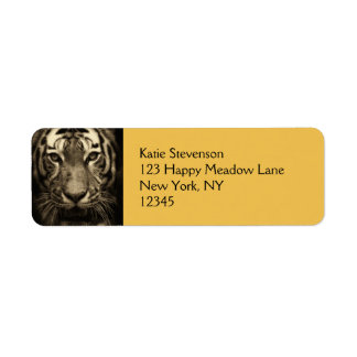 Growling Tiger Face in Sepia Tones Label