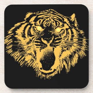 Growling Tiger in Orange With Yellow Eyes Drink Coaster
