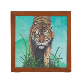 Growling Tiger Portrait Art Print personalizable Desk Organizer