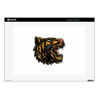 """Growling Tiger Woodcut Decal For 15"""" Laptop"""