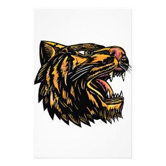 Growling Tiger Woodcut Stationery