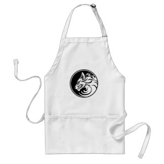 Growling White and Black Wolf Circle Aprons
