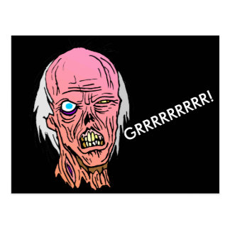 Growling White Haired Zombie Postcard