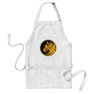 Growling Yellow and Black Wolf Circle Apron