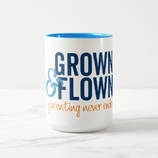 Grown and Flown Stacked Logo With Tagline Two-Tone Coffee Mug