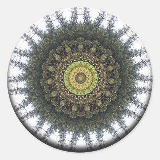 Growth Spiral Mandala Classic Round Sticker