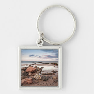 Groyne and stones on the Baltic Sea coast Silver-Colored Square Keychain