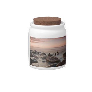 Groynes and stones on shore of the Baltic Sea Candy Jar