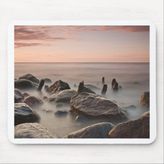 Groynes and stones on shore of the Baltic Sea Mouse Pad