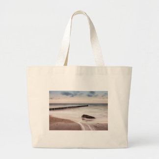 Groynes and stones on the Baltic Sea coast Large Tote Bag
