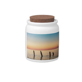 Groynes and sunset on shore of the Baltic Sea Candy Dish
