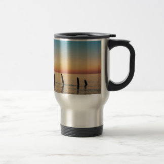 Groynes and sunset on shore of the Baltic Sea Travel Mug