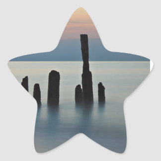 Groynes and sunset on the Baltic Sea coast Star Sticker