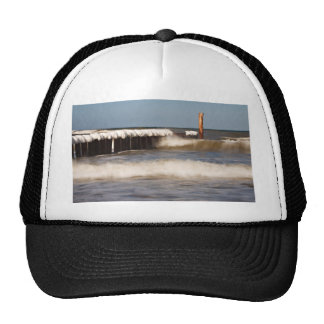 Groynes in winter on shore of the Baltic Sea Trucker Hat