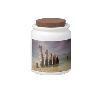 Groynes on shore of the Baltic Sea Candy Jar
