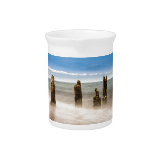 Groynes on shore of the Baltic Sea Drink Pitcher