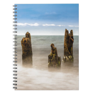Groynes on shore of the Baltic Sea Spiral Notebook