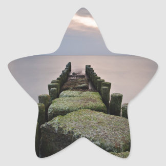 Groynes on shore of the Baltic Sea Star Sticker