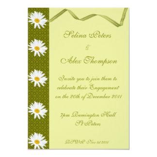 Grren Ribbon  White Daisy Engagement Invitation