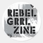 Grrl rebelde Zine Etiquetas Redondas