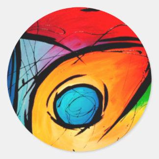 Grrovy Absract con colores y remolinos intrépidos Pegatinas Redondas