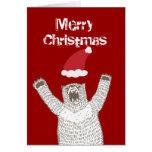 ¡Grrr! Tarjeta de felicitación del navidad del oso