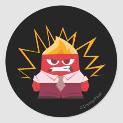 Round Sticker with Anger from Pixar's Inside Out design