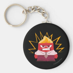 Basic Button Keychain with Anger from Pixar's Inside Out design