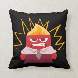 Cotton Throw Pillow with Anger from Pixar's Inside Out design