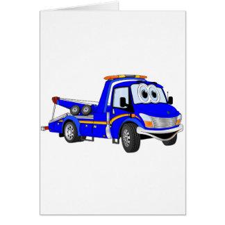 Grúa azul del dibujo animado tarjeta de felicitación