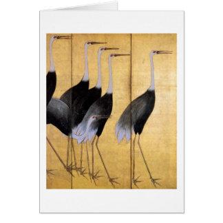 Grúa, bella arte del japonés de Ogata Korin Tarjeta Pequeña