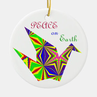 Grúa caleidoscópica Ornament.2 de la paz Adorno Redondo De Cerámica