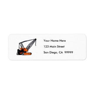 Grúa de construcción anaranjada etiqueta de remite